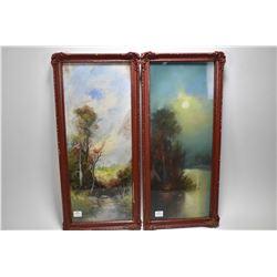 """Two vintage framed pastel on paper original landscapes both signed by artist Chandler and both 20"""" X"""