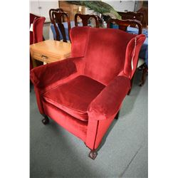 Pair of vintage wingback chair with ball and claw feet, red velveteen upholstery and non-matching fo