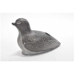"""Carved soapstone loon, 6 1/2"""" in length"""