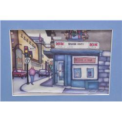 "Framed original painting on silk of a Montreal street scene, signed by artist Renee Bovet 5"" X 7"""
