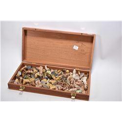 Mahogany hinged lid box with large selection of Wades Potteries animals