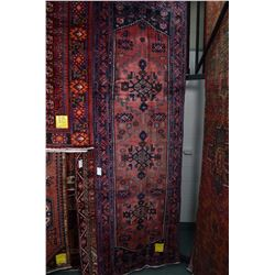 100% wool Iranian Zanjan runner/ area carpet with triple medallion, red background and highlight of
