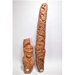 "Two original wood carvings including a native gentleman 14"" in length and a totem style carving 28"""