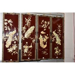 Four peacock motif Oriental lacquered panels with applied shell decoration and hand painting, each 3