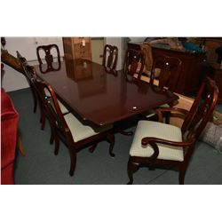 Modern regency style double pedestal dining table with two insert leaves and eight chairs including
