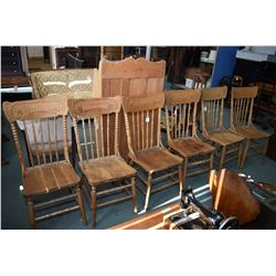 Set of six matching antique pressed back side chairs, stripped and ready for final prep. and finish