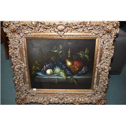Large gilt framed still-life painting with artist signature L. Reid and original Jordan's tag on ver