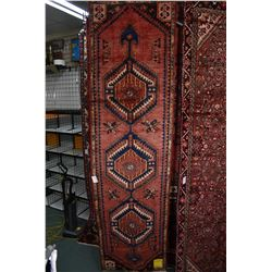 100% wool Iranian Zanjan runner/ area carpet with triple medallion with red background and highlight