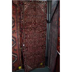 100% wool Iranian Hosseinabad runner/ area carpet with geometric floral pattern with red background