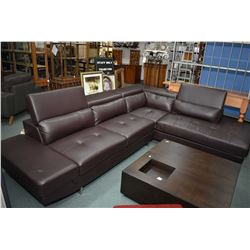 Large mid century style sectional sofa with three tip up head rest sections