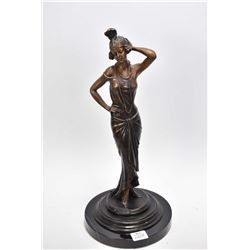"Modern bronze of a 1920's flapper 14"" in height including marble base"