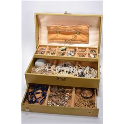 Vintage jewellery boxed filled with jewellery including beaded items, necklaces, brooches, earrings