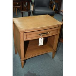 Pair of matching retro style wooden side table with single drawer made by Malcolm