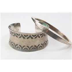 Vintage Jorgen Jensen Denmark pewter bracelet and a sterling silver bangle marked Norway