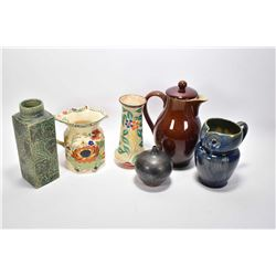 Selection of pottery and stoneware collectibles including a Denby owl pitcher, Denby, tea pot, Mason