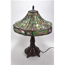 Quality modern cast table lamp with leaded and slag glass shade