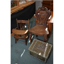 Bas relief brass wrapped kindling box, child's Canadiana potty chair and an antique quarter cut oak