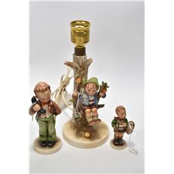 """Selection of Goebel Hummel figures including """"Apple Tree Boy' lamp and two figures with full bee mar"""