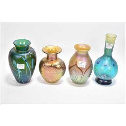 Four pieces of iridescent art glass, each piece signed including Phoenix Studios, Robert Held etc. 5