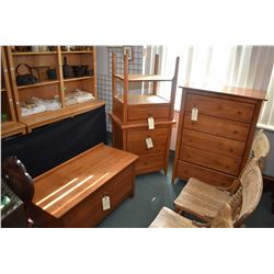 Selection of modern bedroom furniture including five drawer highboy, three drawer night table, singl