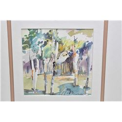 """Framed original watercolour painting of a line of birch trees signed by artist F. Alty-Arscott, 6"""" X"""