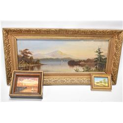 """Three original paintings on board including unsigned mountain lake scene 6 X 16"""" and two small paint"""