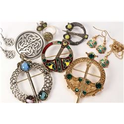 Selection of Celtic themed jewellery including pins, enamelled pendant and earrings, Scottish green