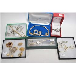Tray lot of vintage and collectible costume jewellery including signed gold plated necklaces with ma