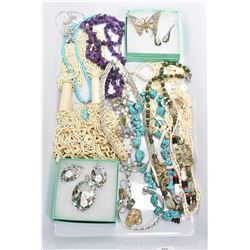 Tray lot of vintage and collectible jewellery including bone and bead necklace, amethyst stone neckl