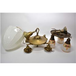 Three antique electric lamps including a four branch brass ceiling fixture, a three branch ceiling f