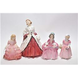 """Four Royal Doulton figurines including """"The Ermine Coat"""" RN 842488, """"Rose"""" HN1368, """"Tinkle Bell"""" HN1"""