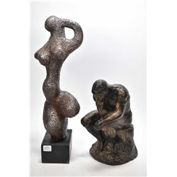 """Two statues including clay abstract on wooden base 18"""" in height and of Rodin's """"The Thinker"""""""