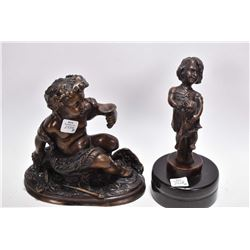 """Two small modern bronzes including a small cherub and a girl with her kitten, 9"""" including marble pl"""