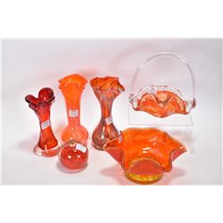 Six pieces of art glass including paperweight, bowls, vases, one with Alta glass label