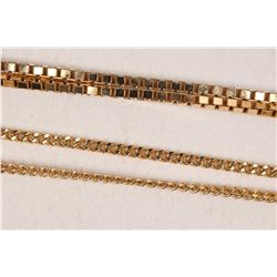 """Two 10kt yellow gold including 15"""" curb chain and a 16"""" box chain"""