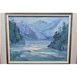 """Framed original pallet painted mountainous river signed by artist Merrill Peck, 8"""" X 10"""""""