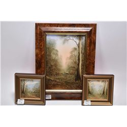 """Three framed original oil paintings including titled on verso """"Mystic Morning- Black Wood"""" 9"""" X 6"""","""