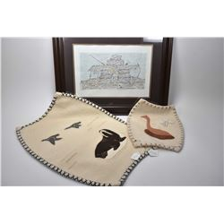 Three pieces of inuit art including framed original drawing of an Inukshuk signed by artist Qiatsug