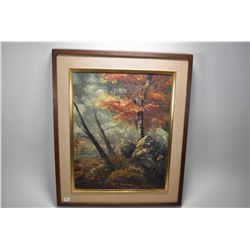 """Framed original oil on board painting titled on verso """"Autumn Woodside"""" by artist Florence Blair, 20"""