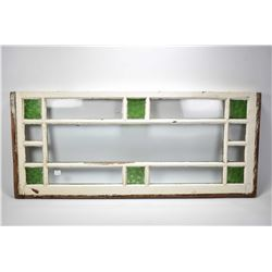 """Two antique windows including one with green glass panels 40"""" X 17"""" and a leaded glass window 42"""" X"""