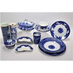 Selection of vintage and antique china including flow blue, cylinder vase, lidded casserole, bone di