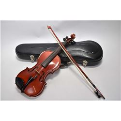 "Vintage 1/8th size violin with bow in hard case labelled ""Suzuki Violin Co. Ltd No. 102"""