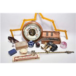 Selection of collectibles including barometer, toasting fork, boxed dominos, miniature perfume, Cath