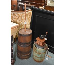 Antique oak, metal strapped butter churn and a small table top coffee grinder plus a Canadian made h