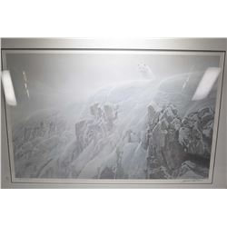 """Framed limited edition print titled """"Arctic Cliff- White Wolves"""" signed by artist Robert Bateman 409"""