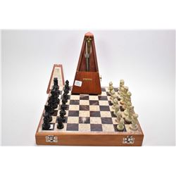 Vintage Seth Thomas metrodome and a boxed chess set with marble game board and chess pieces