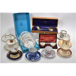 Tray lot of vintage collectibles including demis Spode, Tuscan, Aynsley etc. plus a boxed set of Bir