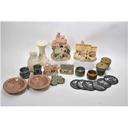 Selection of Irish pottery including egg coddlers, pin trays, toothpick holder etc. plus Wades' Pott