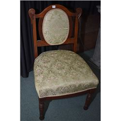 Antique wood framed side chair with upholstered seat and cameo back