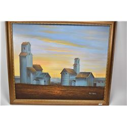 Gilt framed original acrylic on canvas painting of grain elevators and outbuildings signed by artist